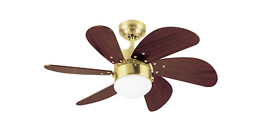 small ceiling fan Turbo Swirl satin brass with lighting from Westinghouse