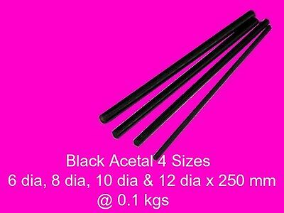 Acetal Black ( Delrin ) Combo 4 Sizes x 250 mm-Model Engineering Plastic Steam
