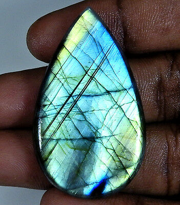Natural Multi Labradorite Cabochon Gemstone Pear 62Cts.;#3913