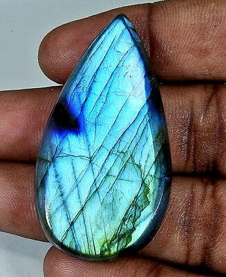 65Cts. Natural Blue Labradorite Cabochon Gemstone Pear ;#3833