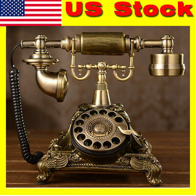 Antique Rotary Bronze Phone French Style Vintage Old Fashioned Princess Telephon