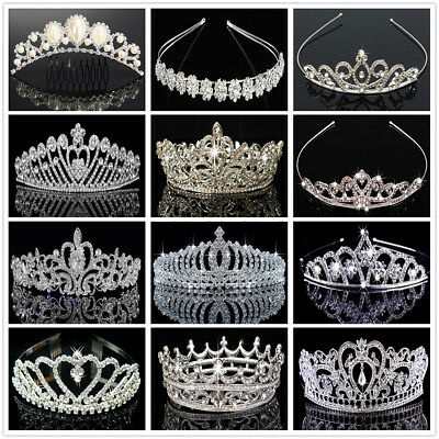 Bridal Princess Rhinestone Crystal Wedding Hair Tiara Crown Veil Headband US