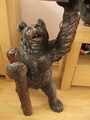 "Antique Large 33"" Black Forest Tobacco Bear Smokers Table Swiss Wood Carving"