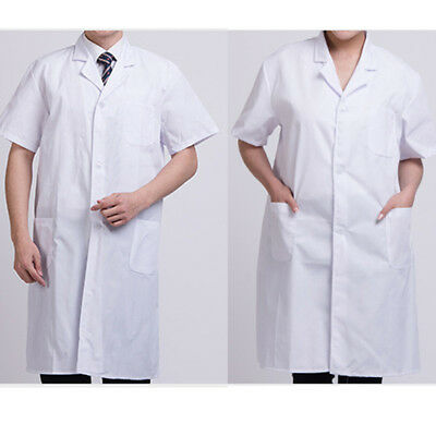 Unisex Men/Women Medical Doctor Nursing Jacket Long White Lab Coat M-3XL