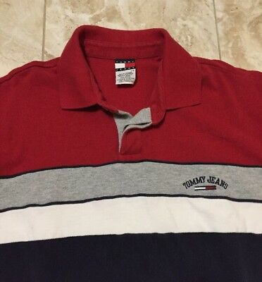 e7d6ade8 Vintage 90s Tommy Hilfiger Tommy Jeans Striped Polo Shirt Size Men's Large