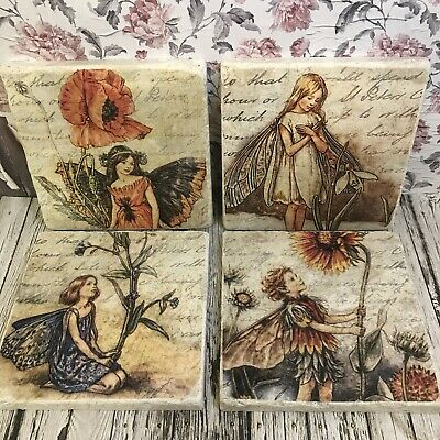 New Vintage Flower Fairies Stone Coasters shabby chic