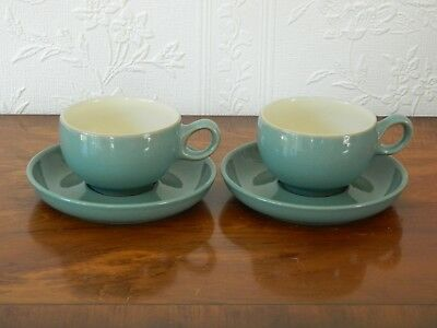 2   Denby  'manor Green'  Cups And Saucers