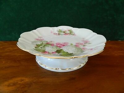 Really Pretty Scalloped Edged Pedestal China Cake Stand. - Apple Blossom