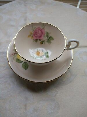 Vintage  Royal Grafton teacup and saucer with roses
