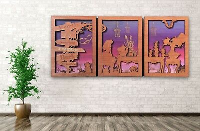 Alice in Wonderland 3 Piece Wall Art 3D Wooden Picture purple Engraved Gift