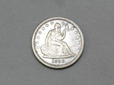 1838 Seated Liberty Quarter, No Drapery ~ Very Nice Type Coin! Free Shipping!