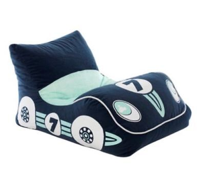 Racing CAR Shape Beanbag Bean Bag Cover Blue White 150L Capacity Boys Couch
