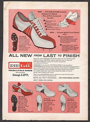 2 Neat Vintage 1960 RIDDELL Track Shoes Print Ads