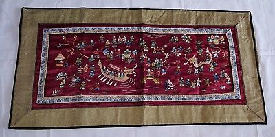 Chinese silk vintage Art Deco oriental antique red dragon runner / table cloth