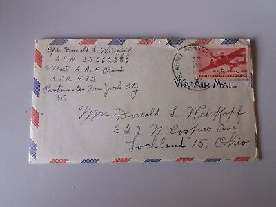 Cover Envelope with letter jan 1945 US Army postal service 6 c Ohio  plane stamp