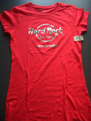 HRC Hard Rock Casino Vancouver Red Tee Gold Logo Size S-XS NWT Girls Cafe