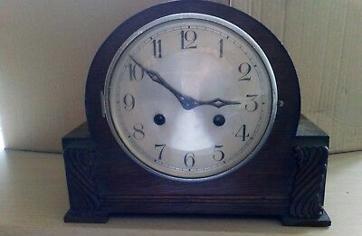 Vintage 8 day striking mantle clock with key and pendulum