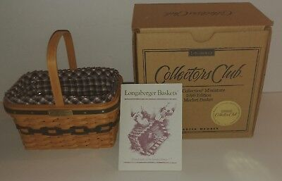 Signed Longaberger Collectors Club 1996 Miniature Market Basket - New in Box!