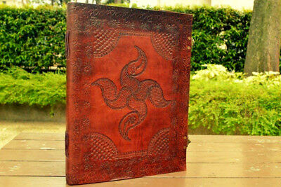 Leather Journal Big Celtic Design huge Journal Handmade Leather Art Gift 13x10