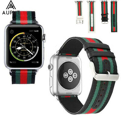 Classic Leder Nylon Armband Band Für Apple Watch Series 4/3/2/1 40/44 38/42mm DE