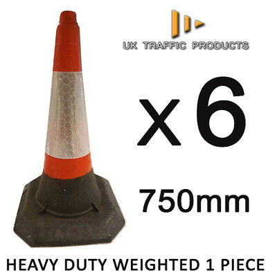 6 x - HEAVY DUTY U.K Traffic Cones (750mm - Self Weighted - 1 Piece)