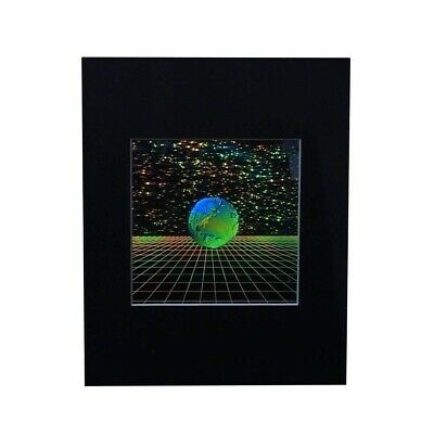 3D Earth with Grid Hologram Picture MATTED, Collectible EMBOSSED Type Film