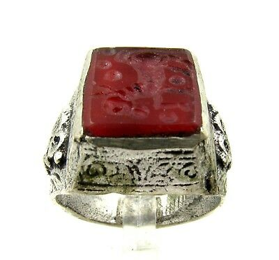 Authentic Post Medieval Silver Ring W/ Carnelian Horse - Wearable - E179
