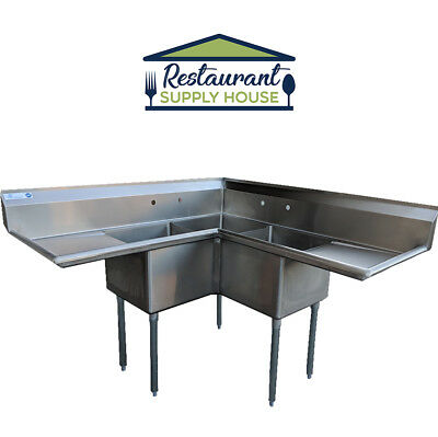 """Commercial 3 Compartment Stainless Steel Corner Sink 18'x18"""" NSF Certified"""
