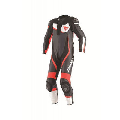 Dainese Veloster 1 piece perforated Leather Suit-Blk/Whi/F-Red-50 - WAS £749.95