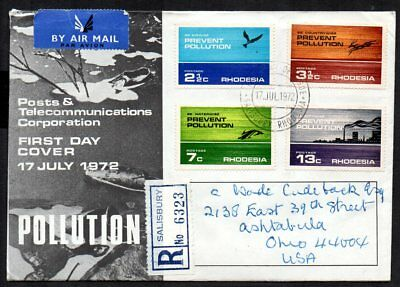 Rhodesia - 1972 Pollution Registered First Day Cover to USA
