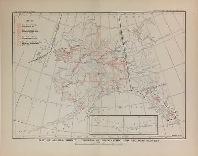 ALASKA Topographic map 1904 Gold Rush US Geological Survey C.D. Walcott