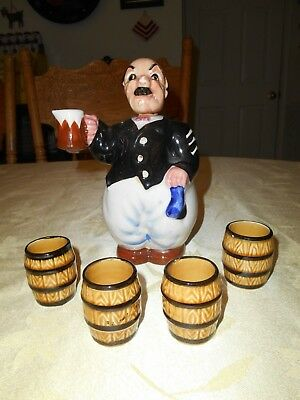 Royal Japan Hand Painted Bald Man Decanter w/ 4 Barrel Shot Glasses, 1950's