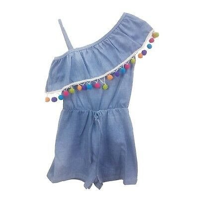 3339d14eceed Kids Girl s Denim Look One Shoulder Frill Playsuit PomPom Bardot Age 4-14  Years