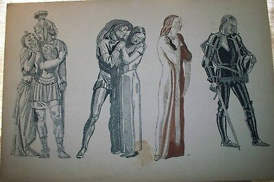 Vintage Unsigned Art Antony & Cleopatra  Medieval Knight 10 X 15 Inches