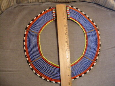 Antique/Vintage AFRICAN BEADED TRIBAL COLLAR Attribute to Masai  Maasi Authentic
