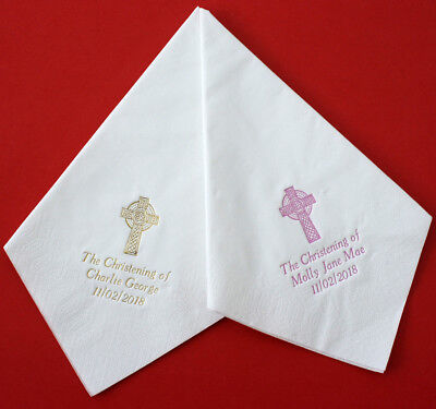 50 Christening/Baptism 40cm 3ply Napkins Personalised  CELTIC CROSS & text