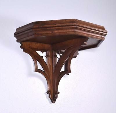 *Vintage French Gothic Wall Shelf/Sconce in Solid Oak Wood