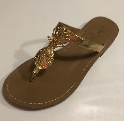 1d31efee396d Lilly Pulitzer Target Pineapple Flip Flop Gold Sandal 8  LEFT Shoe ONLY   Amputee
