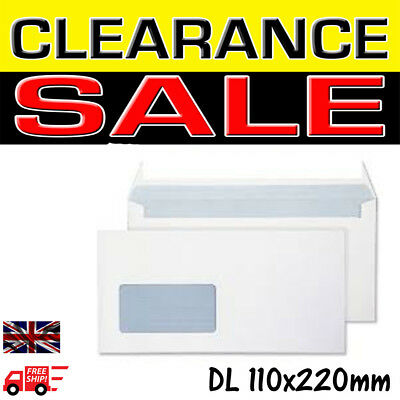 High quality and strong Window White Opaque DL Self Seal Envelopes 110 x 220 mm
