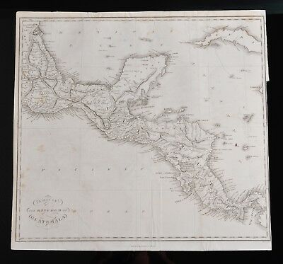 Antique 1823 Map of the Kingdom of GUATEMALA, from book, Central America