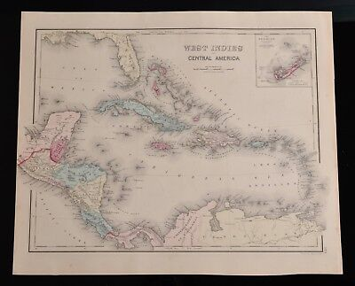 Antique O.W. Gray & Son PA 1876 Map, West Indies  Central America South America