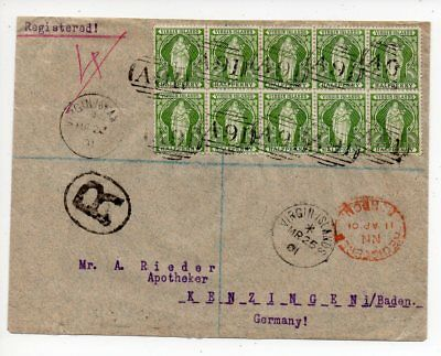 1901 VIRGIN ISLANDS TO GERMANY REG COVER, 1/2p BLOCK OF 10, A91 CANCEL