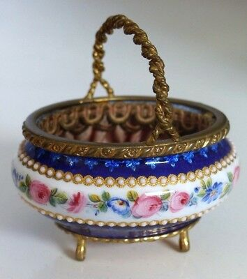 RARE TAHAN Antique 19th Century French Kiln Fired Jewelled Enamel Table Basket
