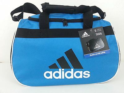 8b90b76891 NWT Adidas Diablo Small Duffel Bag Blue Black White Sport Gym Travel Carry  On