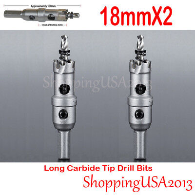 2 Pcs 18mm Long Carbide Tip Alloy Hole Saw Cutter Drill Bits Set Stainless Steel