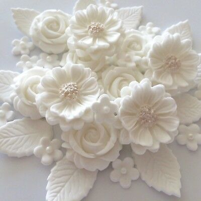 White Wedding Rose Bouquet Edible Sugar Flowers Cake Decorations Cupcake Toppers