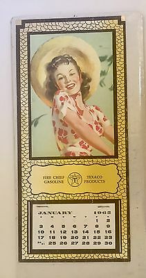 Vintage 1965 Texaco Fire Chief Gasoline Lithograph Calendar Pretty Girl 5 X 11""