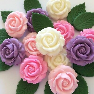 Lilac Pink Ivory Roses Edible Sugar Flowers Cake Decorations Cupcake Toppers