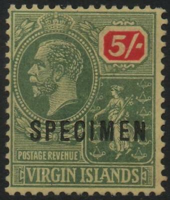 BR.VIRGIN ISLANDS: 1922 - Sg 85s - 5/- Green & Red/Pale Yellow Spec Ovpt (16537)