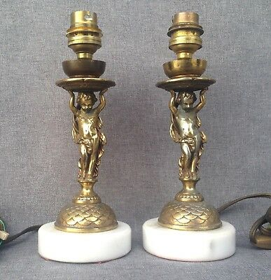 Antique pair of french lamps mid-1900's made of bronze on marble angels